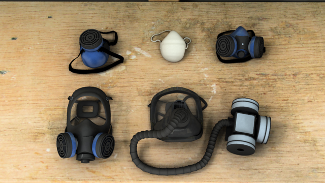 There are three common types of air-purifying respirators: single-use disposable respirators, air-purifying respirators with a flexible, elastomeric quarter-mask, half-mask, or full-mask; and powered air-purifying respirators