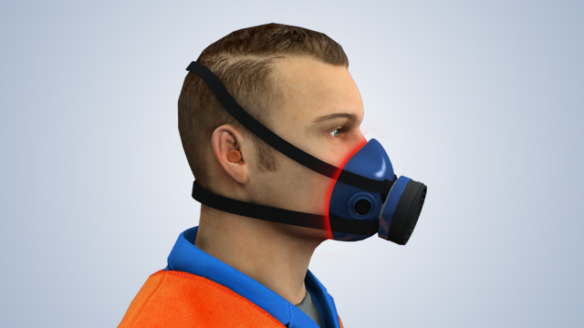 It's important that there be a tight fit between the respirator facepiece and the face when wearing a tight-fitting air-purifying respirator.
