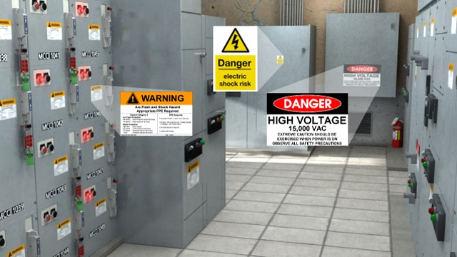 arc flash hazard labels on circuit breakers