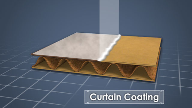 ... corrugated board by passing box blanks under a falling sheet or curtain of liquid coating (melted wax or poly film) to coat one side. & Corrugated Raw Materials - Box Plant Basics Aboutintivar.Com