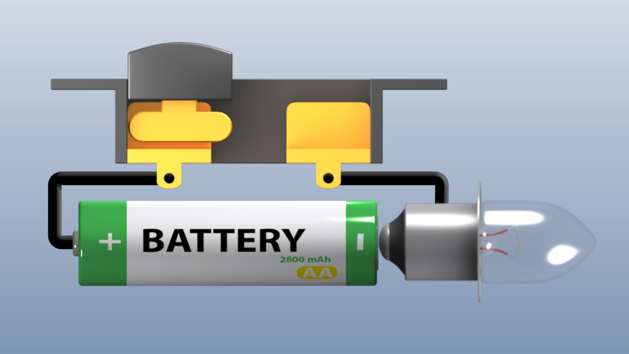 The battery in this circuit provides the voltage potential, or driving force for an electric current.