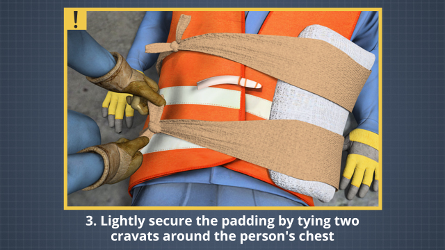 For a broken rib, place padding over the broken rib and secure the padding in place with two cravats For a broken rib, place padding over the broken rib and secure the padding in place with two cravats (tied on side of the chest opposite the broken rib)