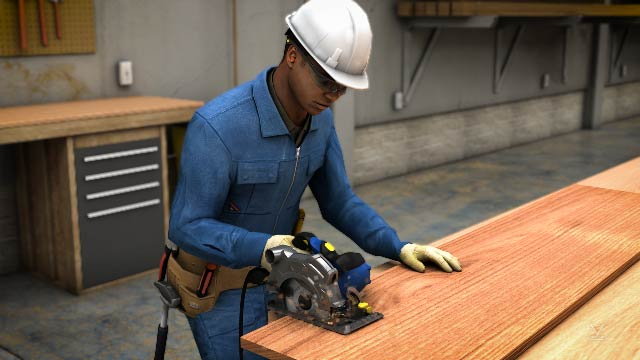 When using a circular saw, you are required to wear safety equipment such as safety glasses, hearing protection and appropriate clothing.