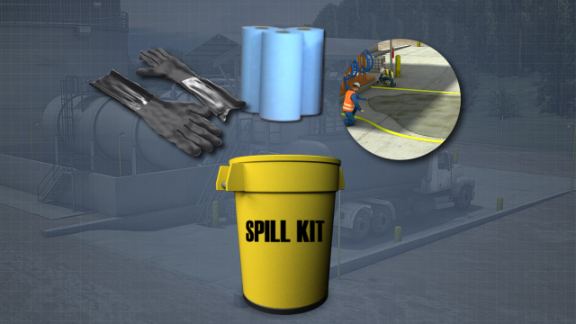 In chemical unloading and storage areas, there should always be an easily accessible spill kit that is fully stocked.