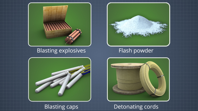 The United Nations classifies blasting explosives, flash powder, blasting caps, and detonating cord as 1.1 substances and articles which present a mass explosion hazard.