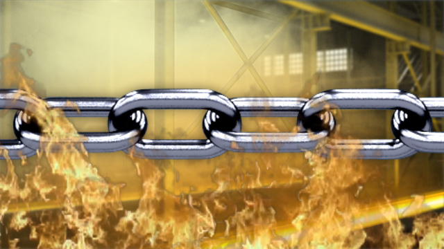 Steel chain rigging can withstand high temperatures