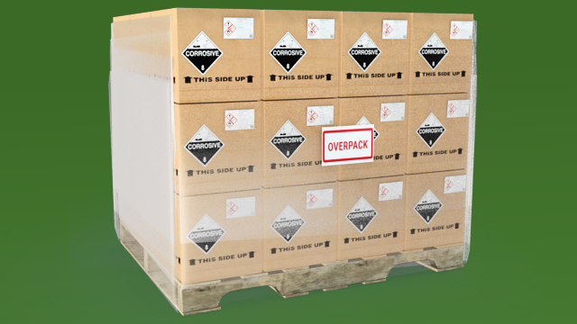 Overpacks where the hazmat labels on the packages remain visible do not require labels.