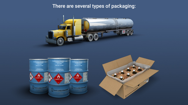 Hazmat packaging types include bulk, non-bulk, and combination.