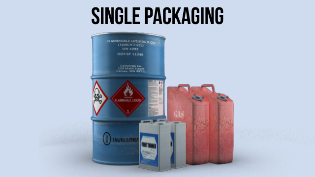 """Single packaging"" is non-bulk packaging that does not require any inner packaging."