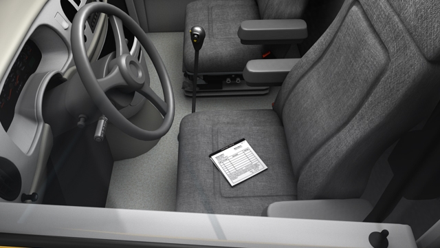 Shipping papers must be placed on the driver's seat or in a holder on the driver's door when the driver is not at the controls.