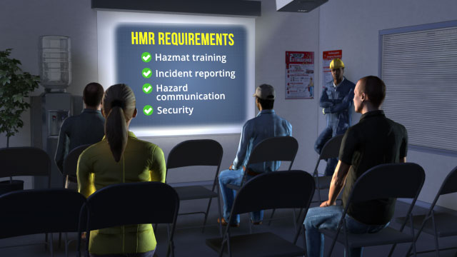 The HMR sets standards for hazmat training, incident reporting, hazard communication, and security