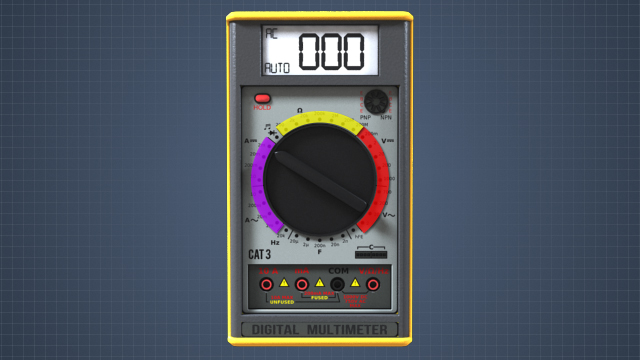 A digital multimeter can measure voltage, current, and resistance. The type of measurement is determined by the position of the selection knob and the test leads.