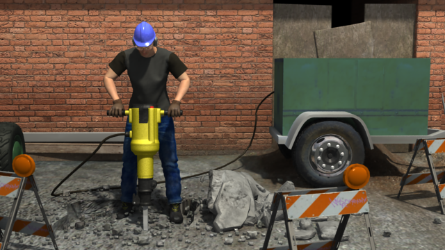 3D render of potential electrical hazards while on the job.