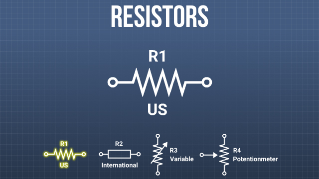 In the U.S., a series of zigzag lines is used as the symbol for a resistor, internationally a simple open rectangle is used.