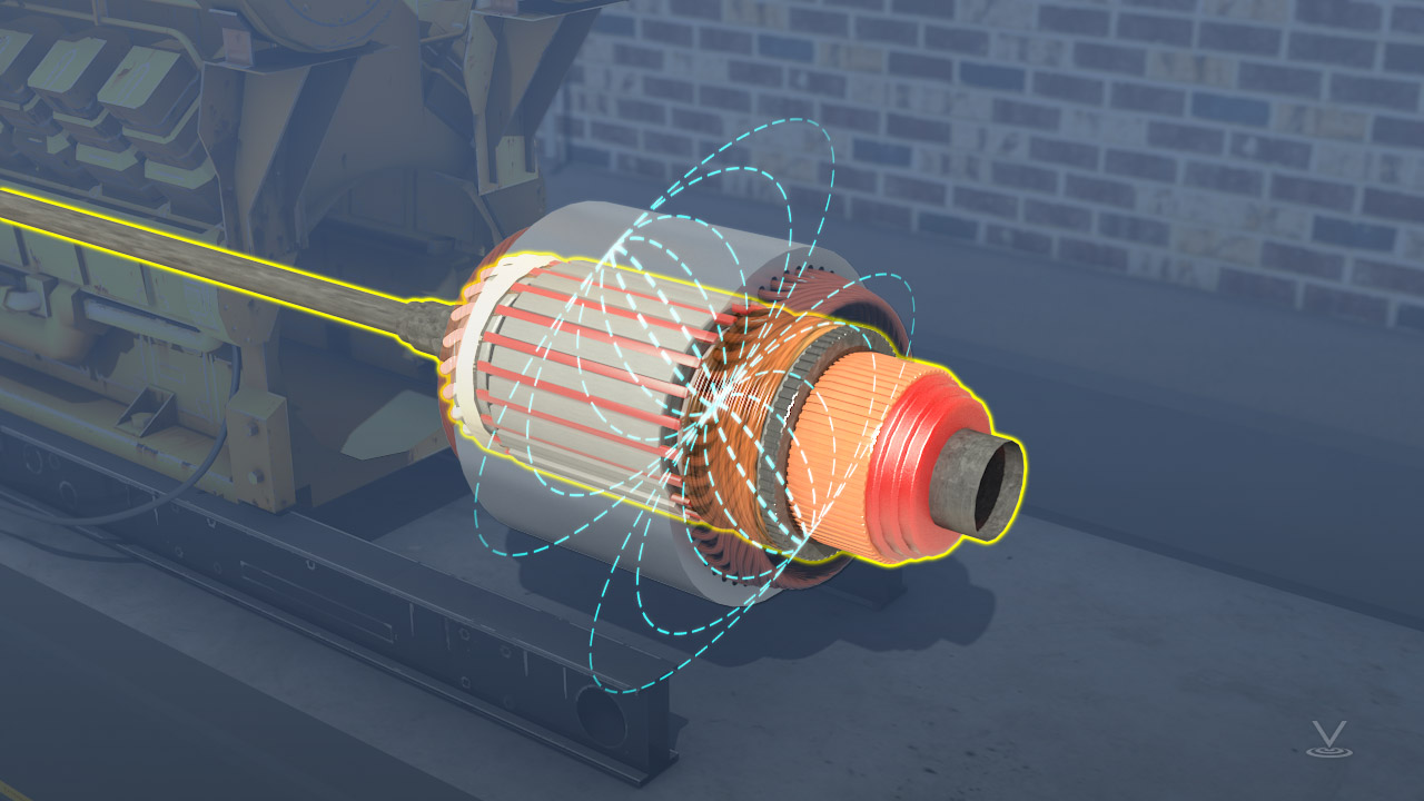 Generator head spinning within a magnetic field.