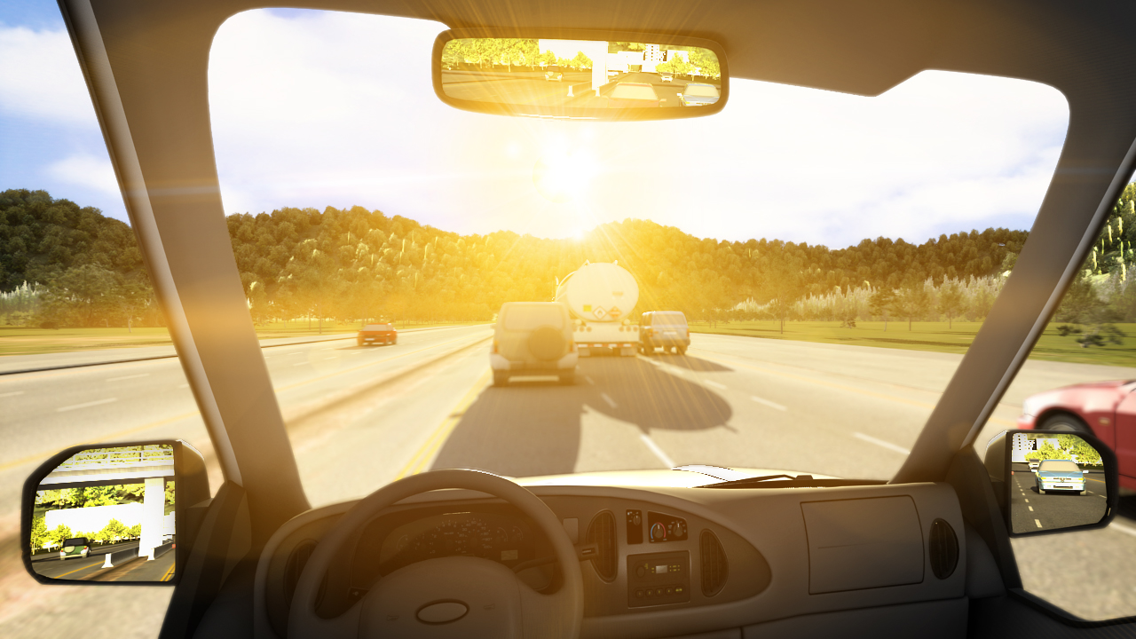 Environmental hazards such as dense fod or glare from the sun can reduce your visibility.