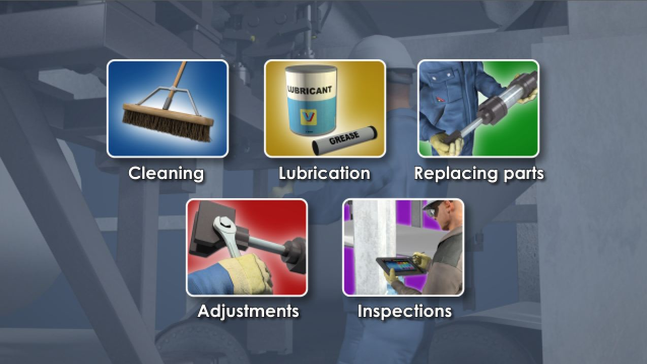Examples of equipment maintenance in a production facility.