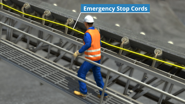 Stop cords are often located between conveyor belts and walkways and in situations where it may be impractical or impossible to appropriately guard the machinery.