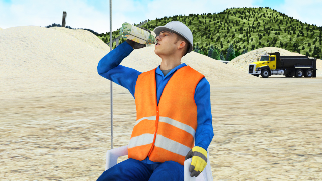Drink plenty of fluids before working and during rests to stay hydrated.