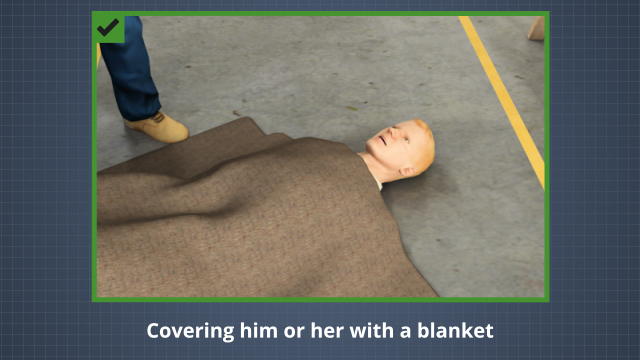 First aid for shock involves calling for qualified medical assistance, having the person lie down, and covering the person with something like a blanket.