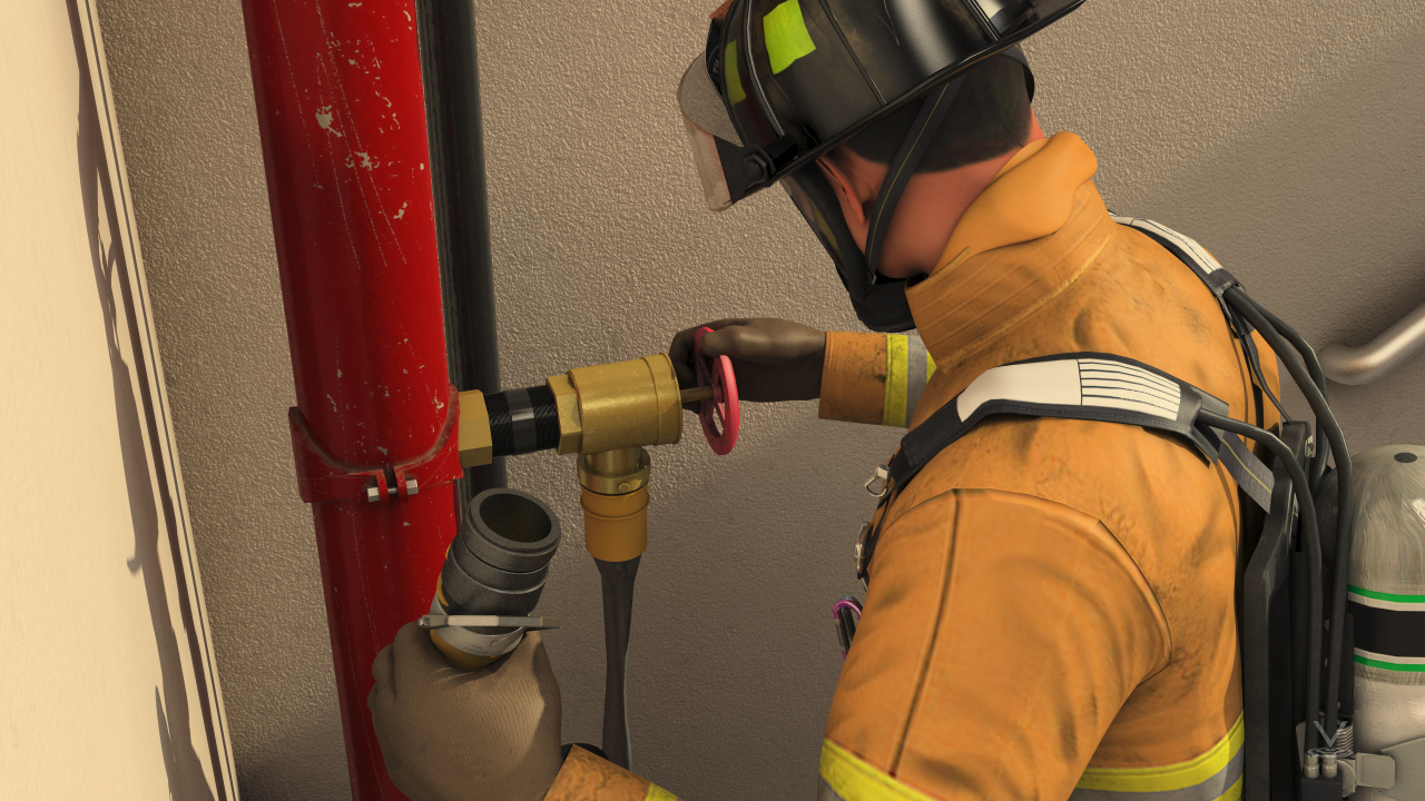 The firefighter can connect a fire hose to the valve and have a charged hose prior to entering the fire scene.