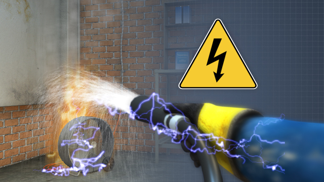 If a water extinguisher is used on an electrical fire, the water from the extinguisher can conduct the electricity, creating the potential for electrical shock.