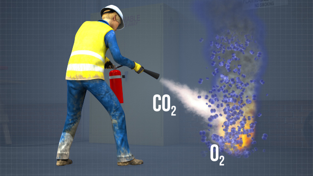 Even though the suppressant in a carbon dioxide extinguisher is cold when it is discharged it does not cool the fuel, instead the carbon dioxide displaces oxygen to put out the fire.