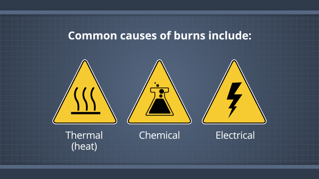 The first aid you'll provide a burn victim will depend, in part, on the type of burn it is. Burns can include thermal (or heat) burns, chemical burns, electrical burns, as well as other types of burns