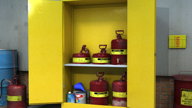 Place safety cans containing with flammable liquids inside fire-resistant flammable lquid storage cabinets or  rooms.