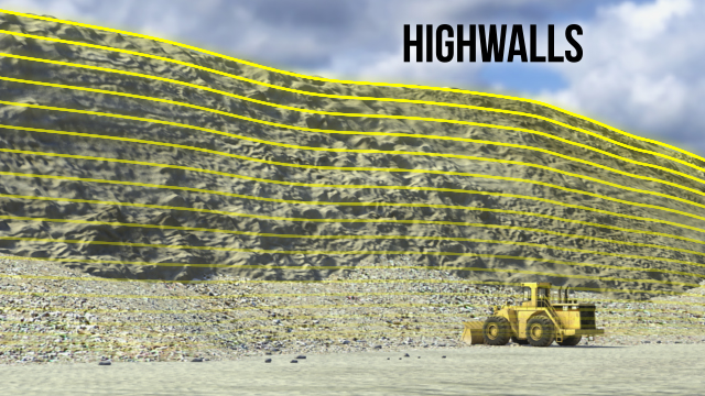 At surface mines, highwalls are unexcavated faces of exposed overburden which can range in height from 20 feet to more than 100 feet.
