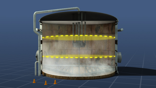 The air in a confined space needs to be checked at different levels because gases and vapors with different densities can cause layering within the space.