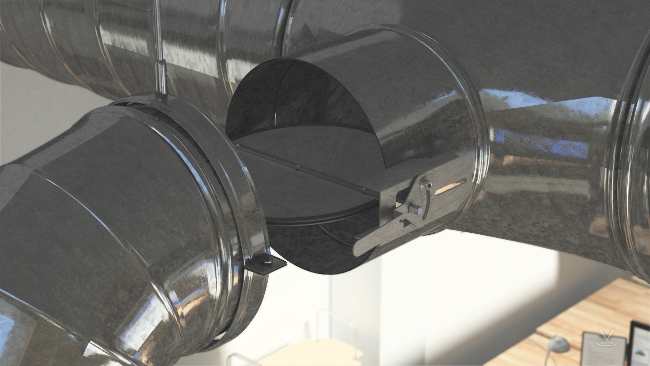 Air flow adjustment is accomplished by changing the position of balance dampers within the ducts.