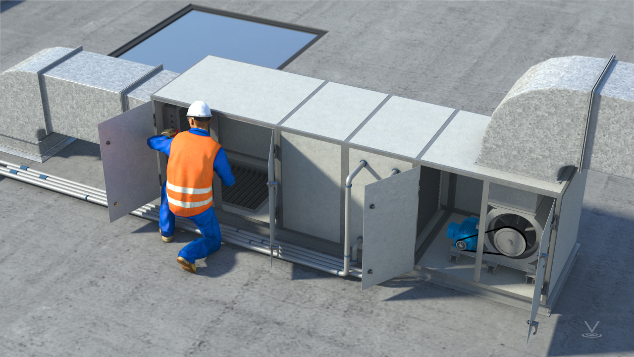 Hinged doors or removable panels provide access to the working ocmponents inside the air handling unit.