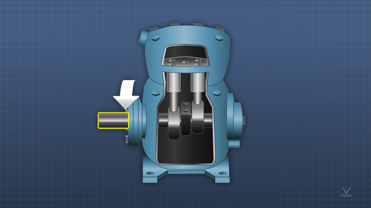 Systems with open compressors that have not operated for an extended period of time are likely to leak from the rotating shaft seal. To avoid this, rotate shafts periodically during down periods to keep the shaft seals lubricated.