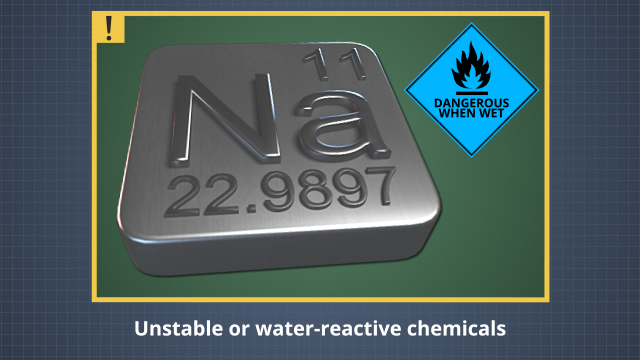 Hazardous chemicals are any liquids, gases, or solids which can harm people or pose risk of injury or property damage if they are reactive, corrosive, combustible, or explosive. This includes water-reactive chemicals.