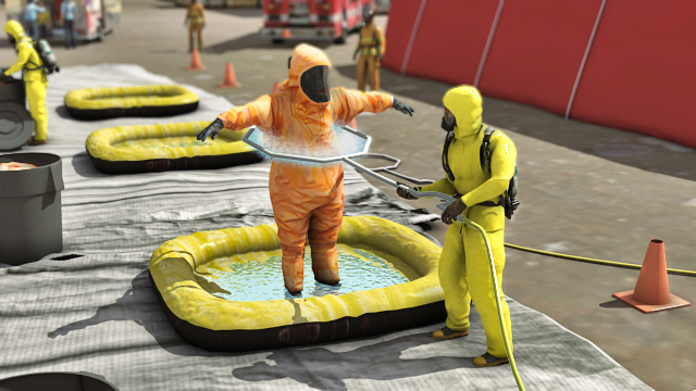 Loose contaminants on the outer surfaces of protective clothing can usually be rinsed off with water.