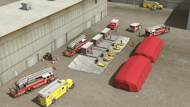 A sequence of decontamination stations is called a decontamination line. The stations should be arranged in a straight line whenever possible.