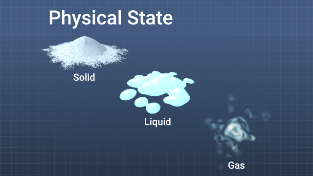 The physical state of a material affects the severity of an incident. Solids are usually the least hazardous because they are easiest to contain. Gases and vapors can expand and spread over large areas and they can be inhaled or absorbed through the skin.
