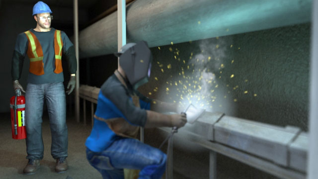 3D Render of Fire Watch being Trained on how to use a Fire Extinguisher