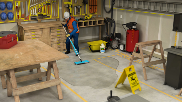 Clean up spills immediately to prevent slips, trips, and falls.