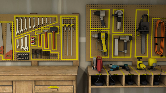 Store tools and materials in a designated place to keep the area free of clutter and make things easy to find.