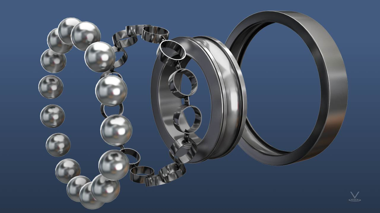 A ball bearing consists of spherical balls held in place by a cage, between an inner race (ring) and an outer race.