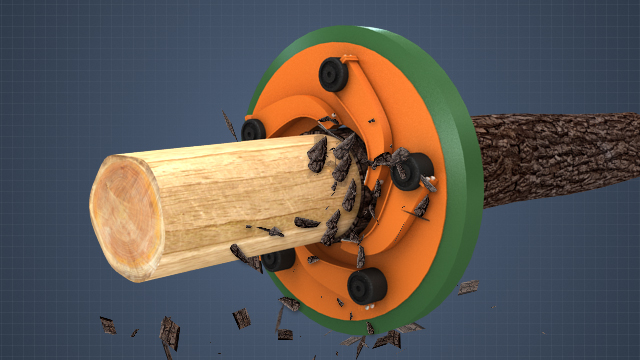 Chips are created by feeding logs into flywheel disk chippers with multiple blades.
