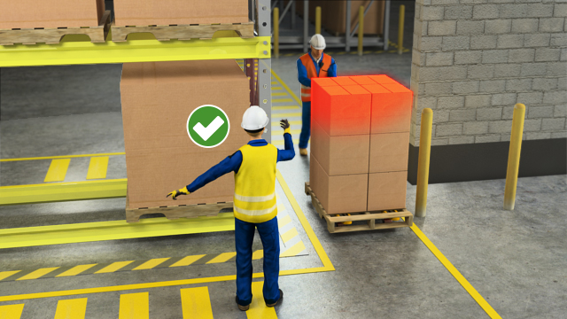 Be aware that the pallet and load is wider than the jack and maneuver carefully to avoid striking door frames, racking, or other structures. If your vision is obscured by the height or width of a load, use a spotter to help out.