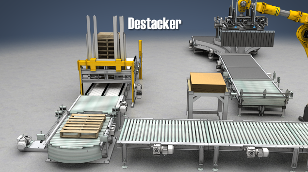 A destacker feeds individual pallets to the palletizer.
