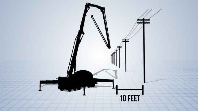 When operating mobile equipment with dumping beds, articulated booms, or lifts, use extreme caution around overhead power lines.