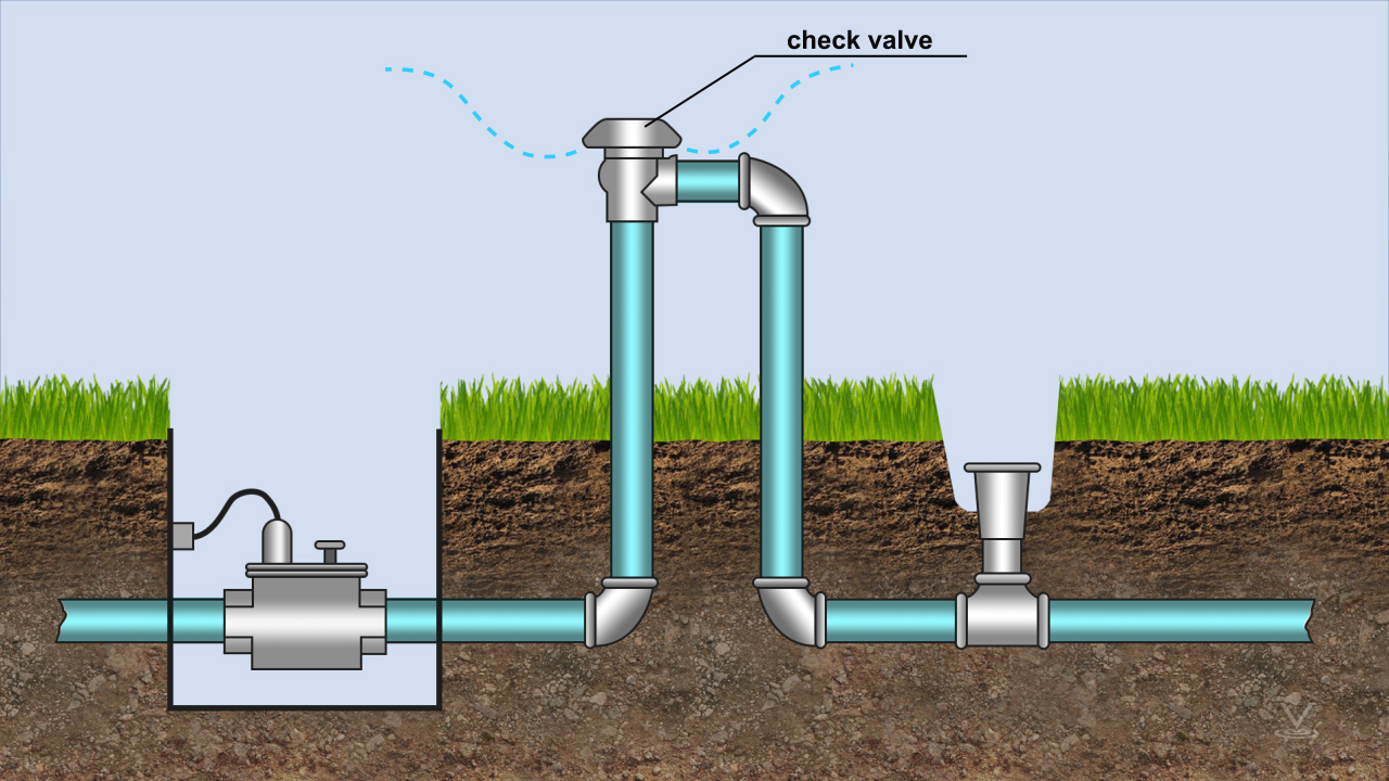 In a backflow situation, the vacuum closes the check valve as air enters at the top.
