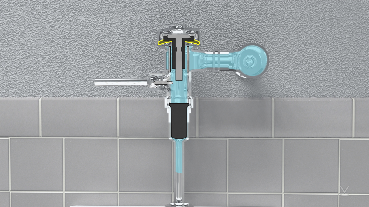 A flushometer is usually used in a commercial building rest rooms where higher pressures and larger pipe sizes provide the needed water pressure and volume to effectively flush toilets and urinals.