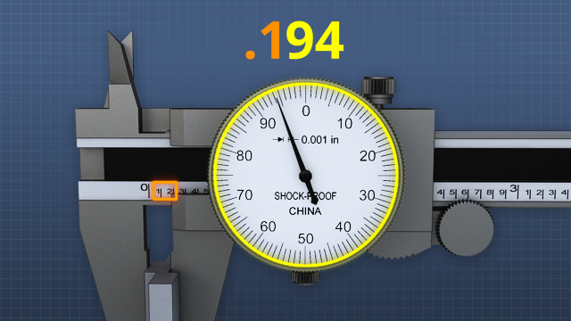 Caliper measurements are determined by adding the values on the bar and dial.