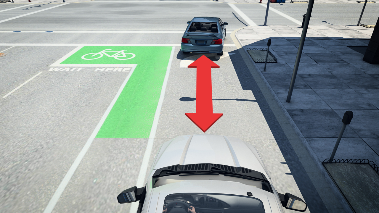 Make sure to leave space between the front of your vehicle and the vehicle stopped in front of you.